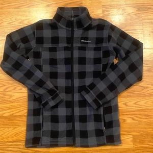 Columbia black/gray checkered fleece Jacket